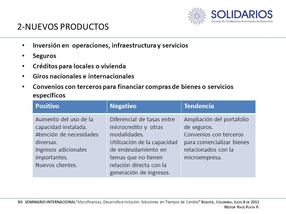 2-NUEVOS PRODUCTOS Inversión en operaciones, infraestructura y servicios. Seguros. Créditos para locales o vivienda.