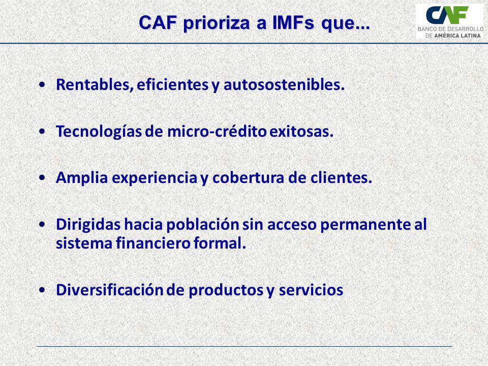 CAF prioriza a IMFs que... Rentables, eficientes y autosostenibles.