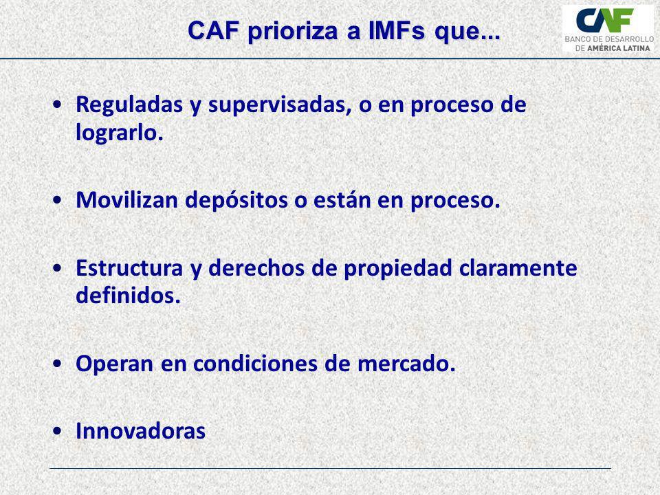 CAF prioriza a IMFs que... Reguladas y supervisadas, o en proceso de lograrlo. Movilizan depósitos o están en proceso.