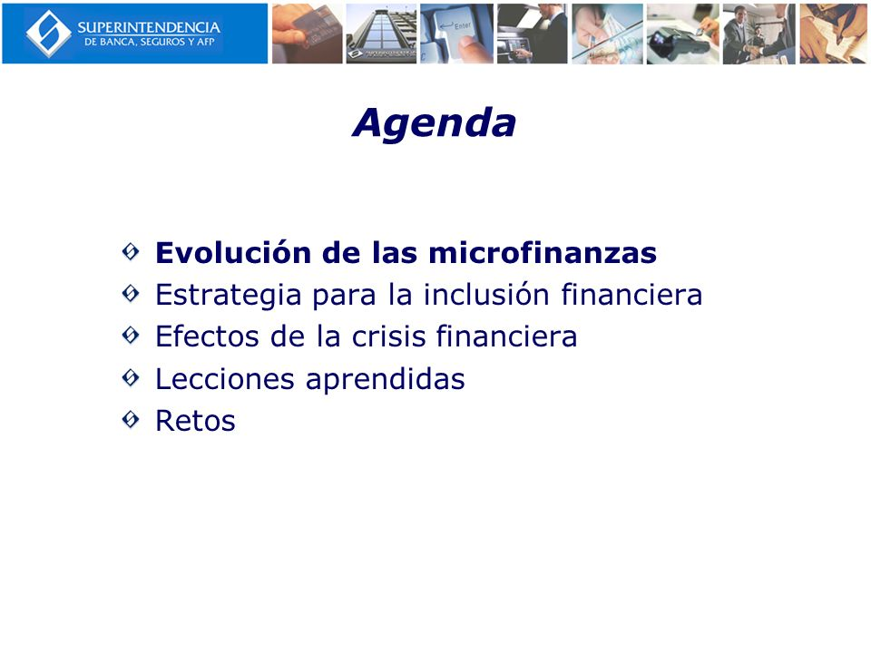 Agenda Evolución de las microfinanzas