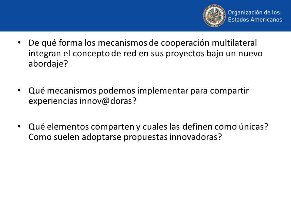 De qué forma los mecanismos de cooperación multilateral integran el concepto de red en sus proyectos bajo un nuevo abordaje