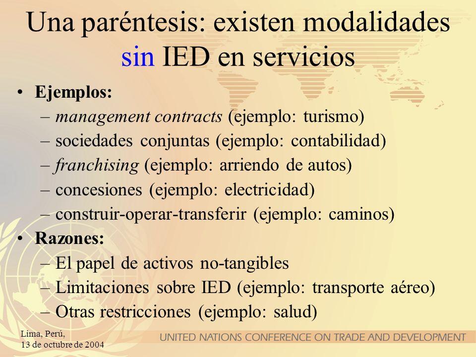 Una paréntesis: existen modalidades sin IED en servicios
