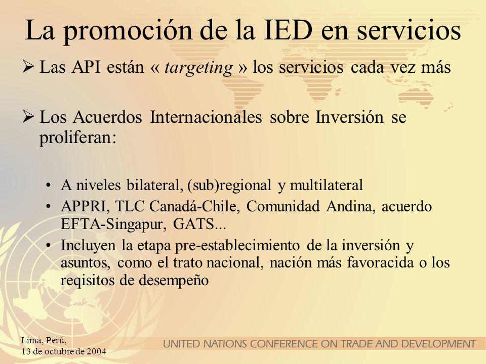 La promoción de la IED en servicios