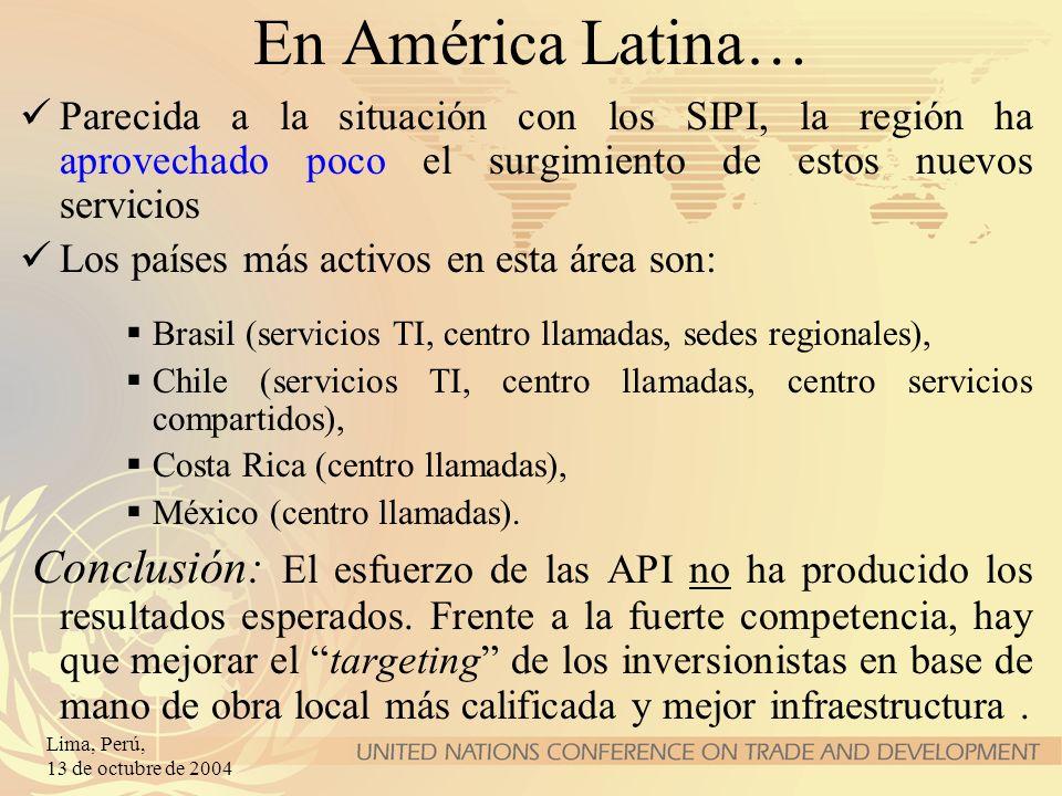 En América Latina…Parecida a la situación con los SIPI, la región ha aprovechado poco el surgimiento de estos nuevos servicios.