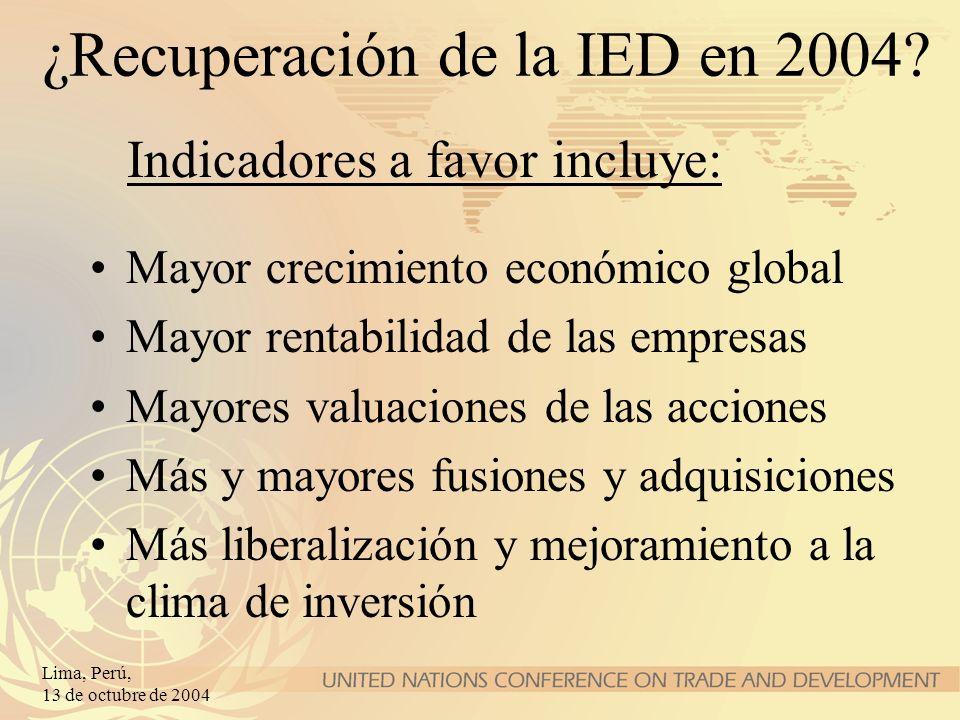 ¿Recuperación de la IED en 2004