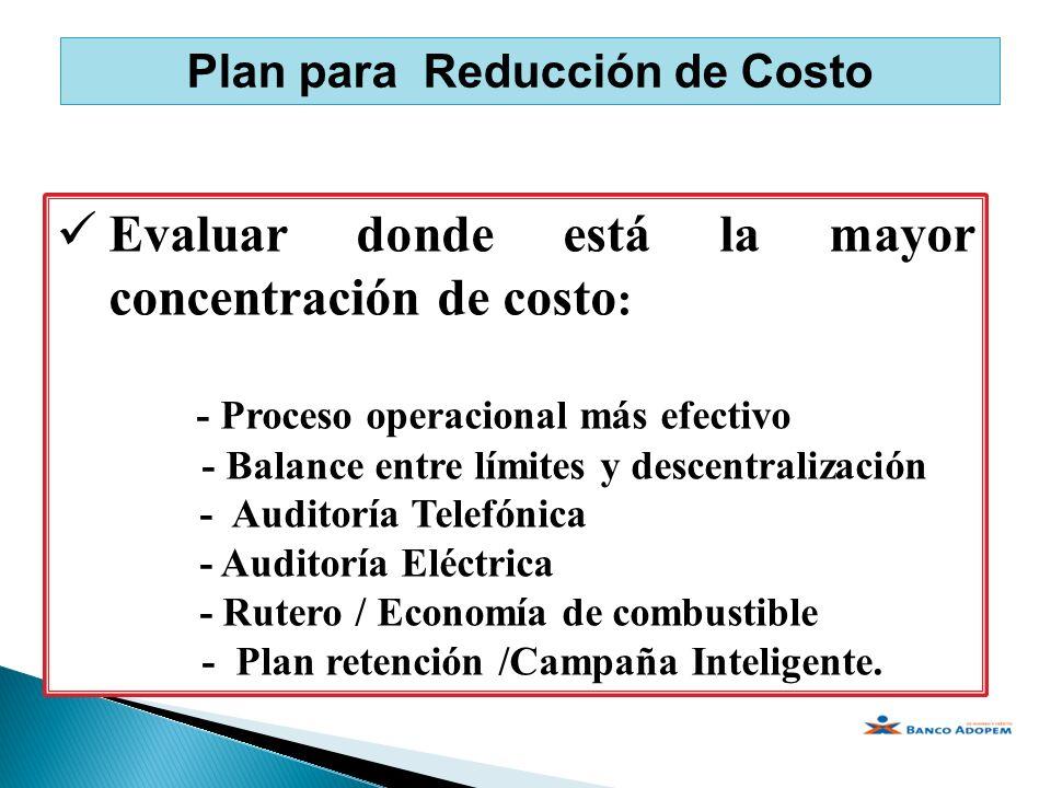 Plan para Reducción de Costo