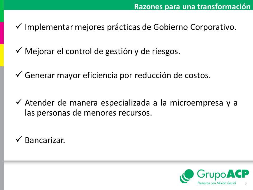 Implementar mejores prácticas de Gobierno Corporativo.