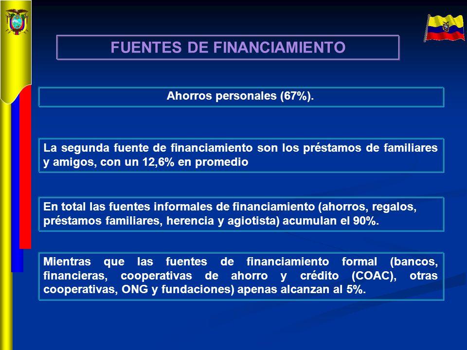 FUENTES DE FINANCIAMIENTO Ahorros personales (67%).