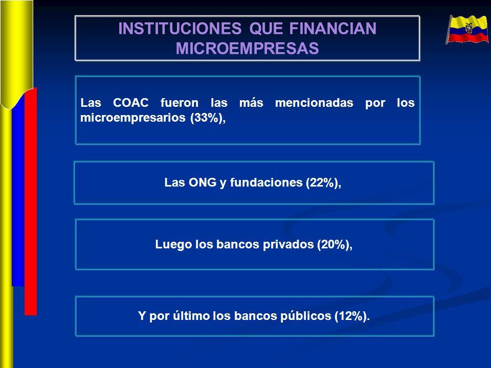 INSTITUCIONES QUE FINANCIAN MICROEMPRESAS