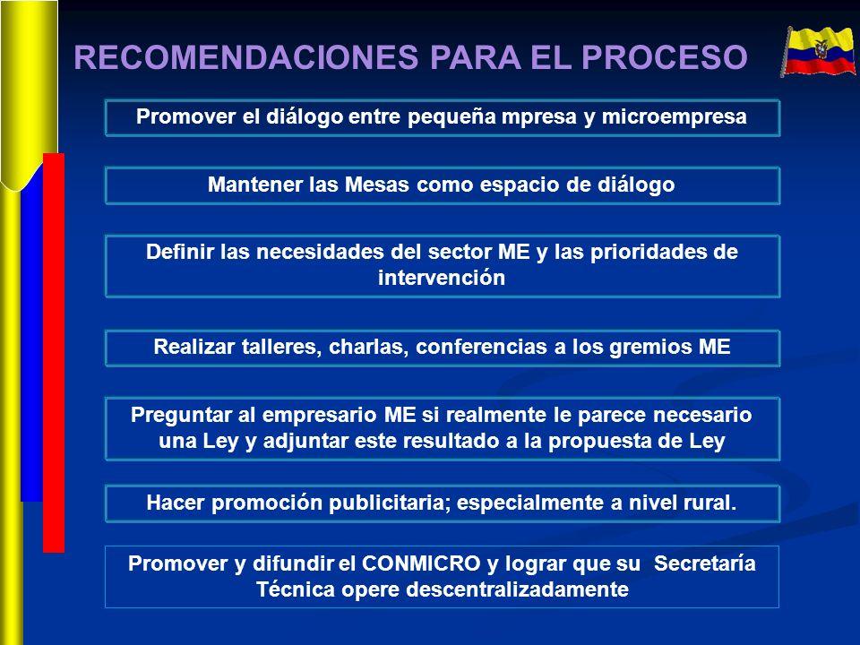 RECOMENDACIONES PARA EL PROCESO