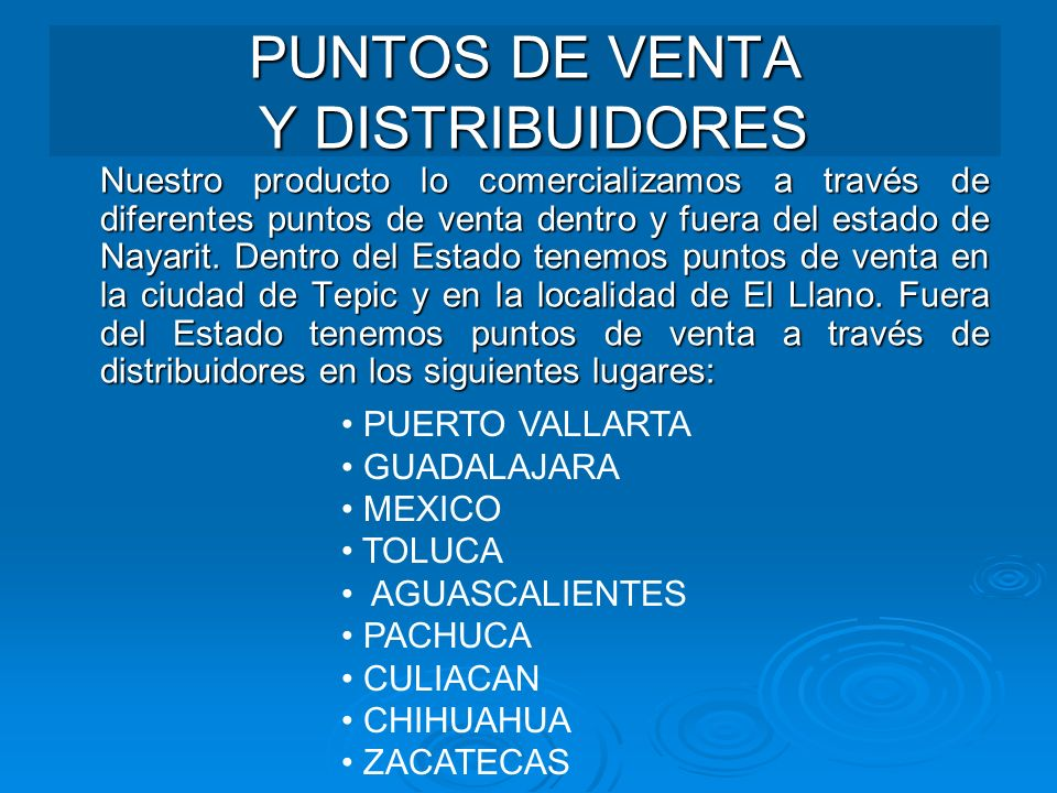 PUNTOS DE VENTA Y DISTRIBUIDORES