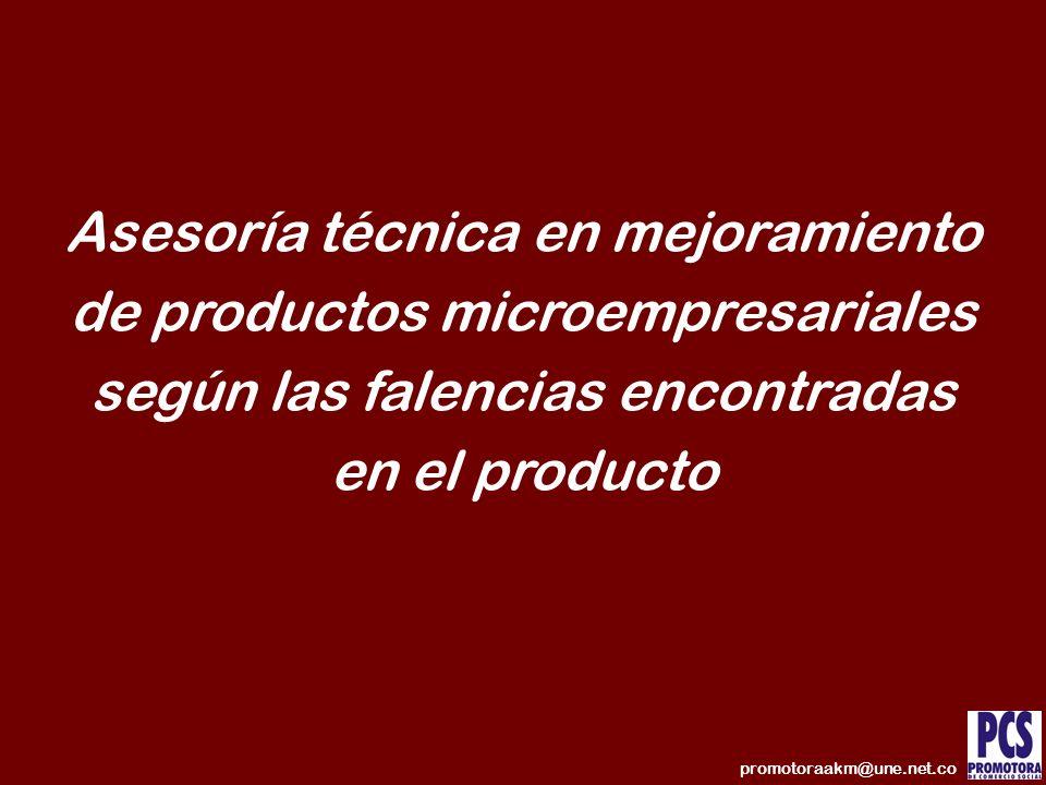 Asesoría técnica en mejoramiento de productos microempresariales