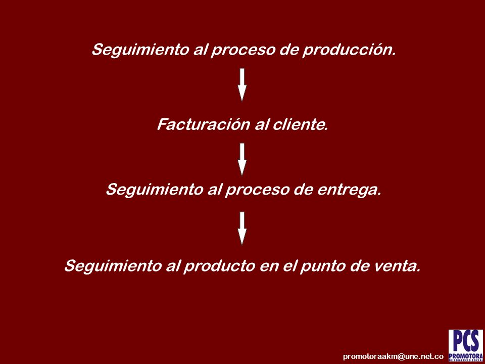 Seguimiento al proceso de producción.