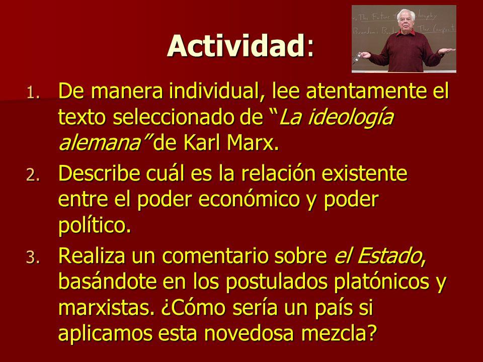 Actividad: De manera individual, lee atentamente el texto seleccionado de La ideología alemana de Karl Marx.
