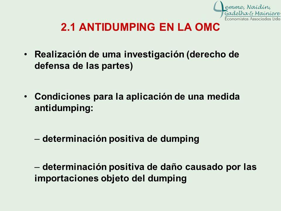 2.1 ANTIDUMPING EN LA OMCRealización de uma investigación (derecho de defensa de las partes)