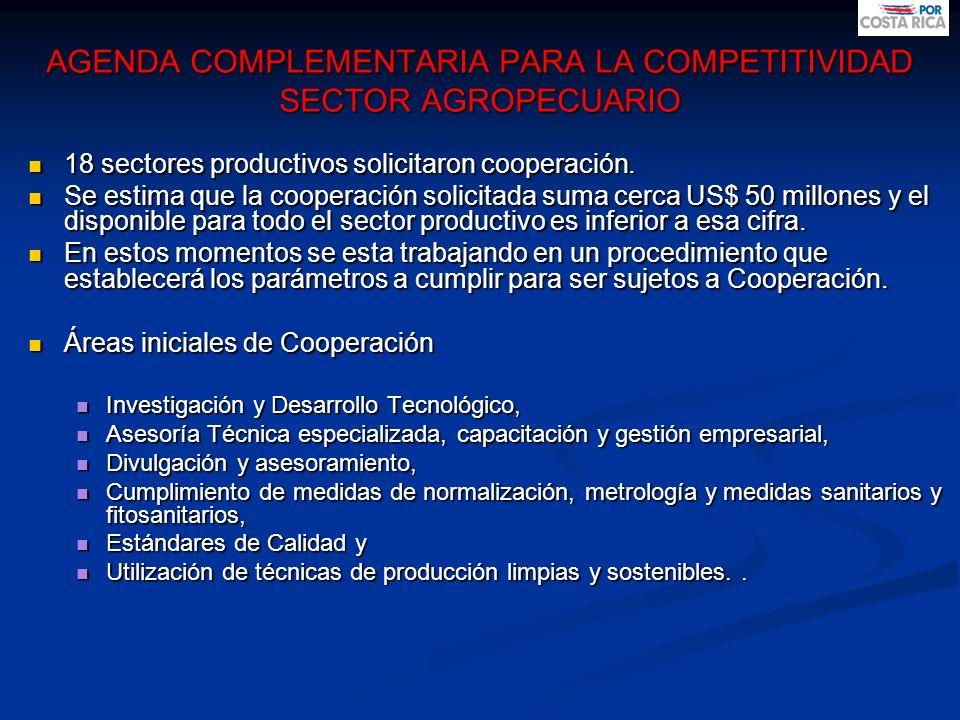 AGENDA COMPLEMENTARIA PARA LA COMPETITIVIDAD SECTOR AGROPECUARIO