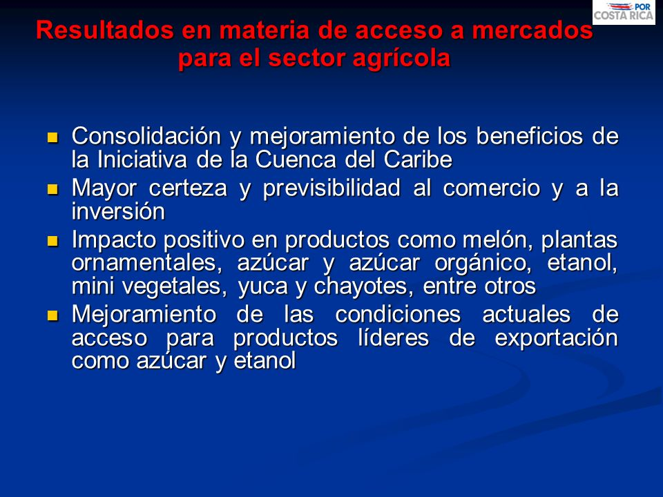 Resultados en materia de acceso a mercados para el sector agrícola