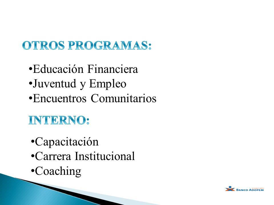 OTROS PROGRAMAS: Educación Financiera. Juventud y Empleo. Encuentros Comunitarios. INTERNO: Capacitación.