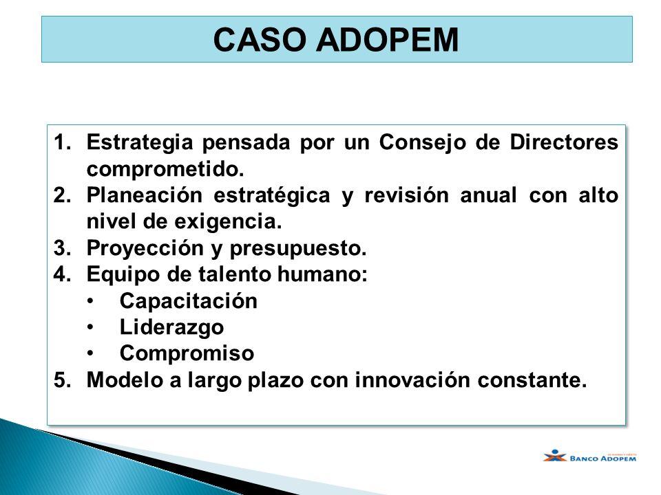 CASO ADOPEM Estrategia pensada por un Consejo de Directores comprometido. Planeación estratégica y revisión anual con alto nivel de exigencia.
