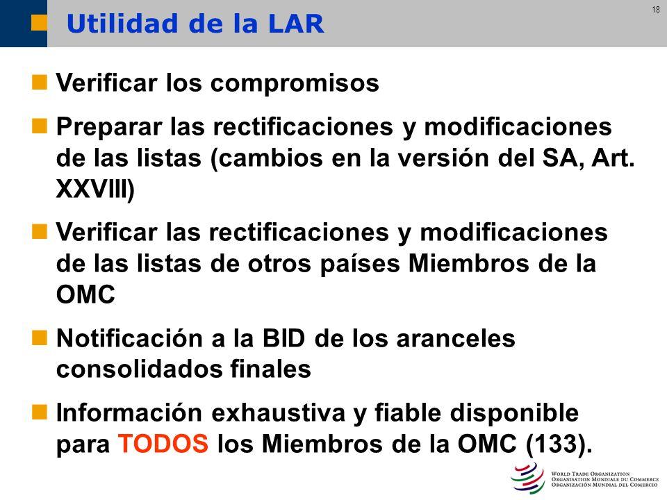 Utilidad de la LARVerificar los compromisos. Preparar las rectificaciones y modificaciones de las listas (cambios en la versión del SA, Art. XXVIII)