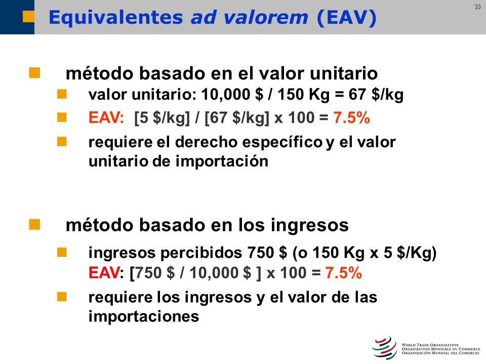 Equivalentes ad valorem (EAV)