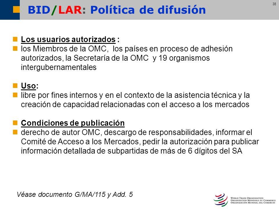 BID/LAR: Política de difusión