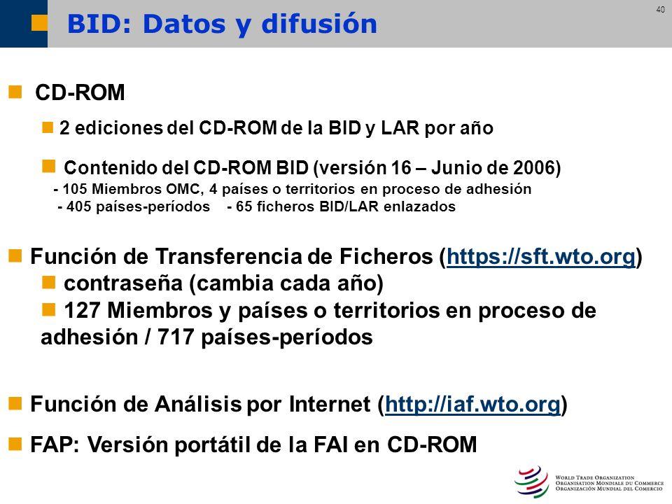 BID: Datos y difusión CD-ROM