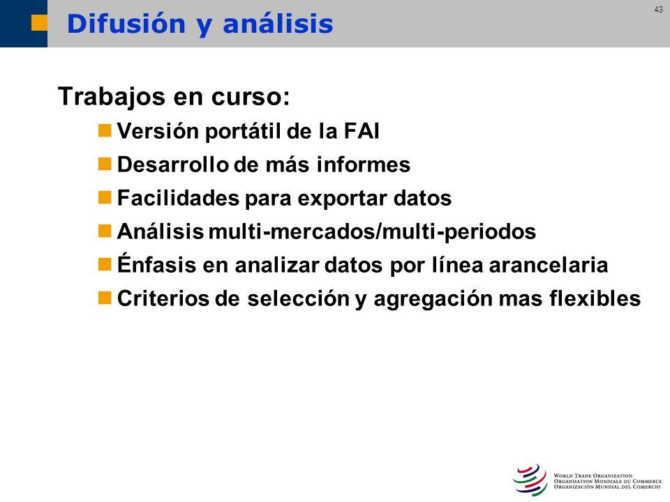 Difusión y análisis Trabajos en curso: Versión portátil de la FAI
