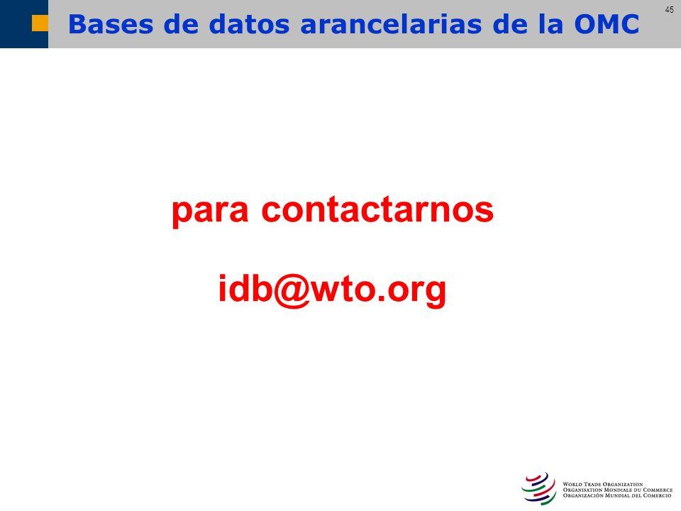 Bases de datos arancelarias de la OMC
