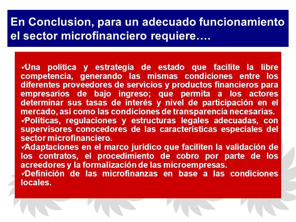 En Conclusion, para un adecuado funcionamiento el sector microfinanciero requiere….