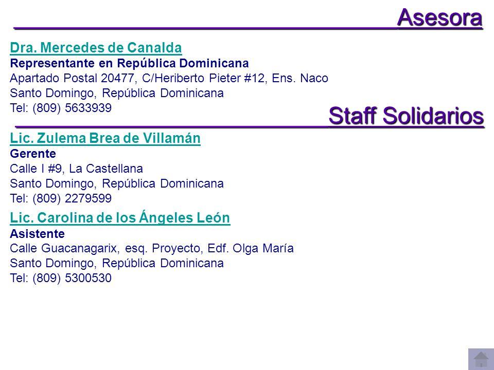 Asesora Staff Solidarios Dra. Mercedes de Canalda