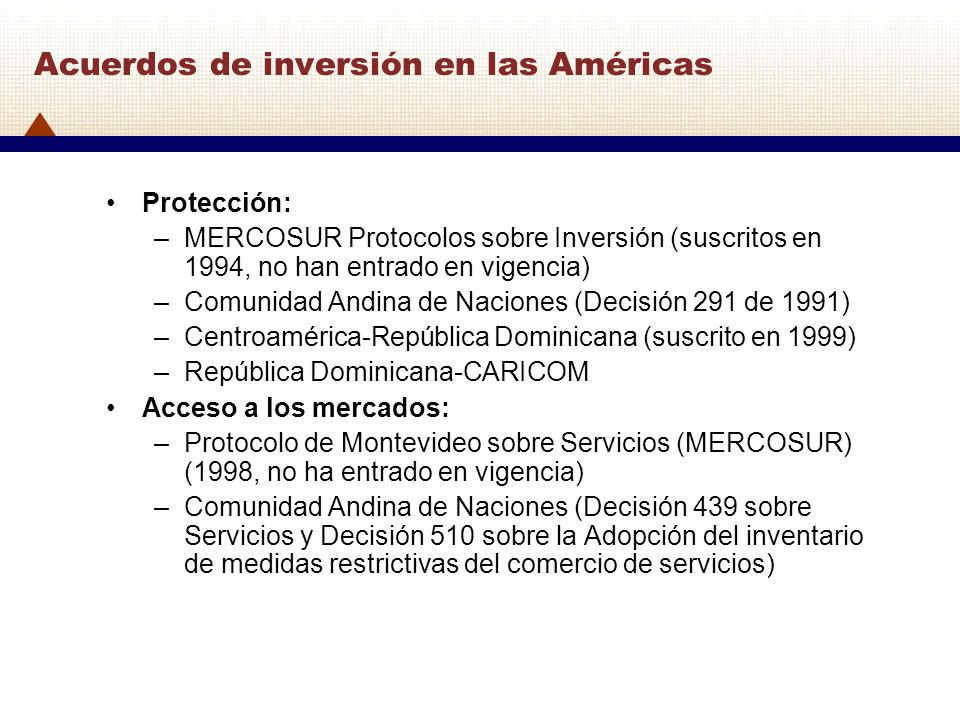 Acuerdos de inversión en las Américas