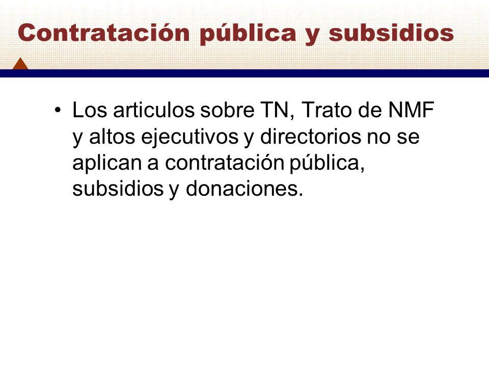 Contratación pública y subsidios