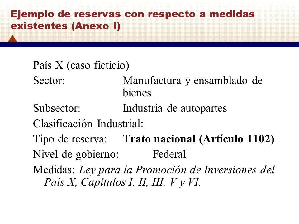 Ejemplo de reservas con respecto a medidas existentes (Anexo I)