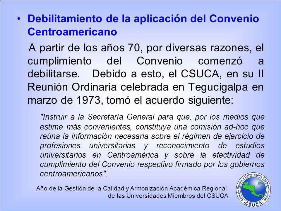 Debilitamiento de la aplicación del Convenio Centroamericano