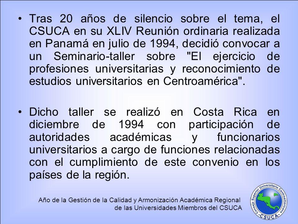 Tras 20 años de silencio sobre el tema, el CSUCA en su XLIV Reunión ordinaria realizada en Panamá en julio de 1994, decidió convocar a un Seminario‑taller sobre El ejercicio de profesiones universitarias y reconocimiento de estudios universitarios en Centroamérica .