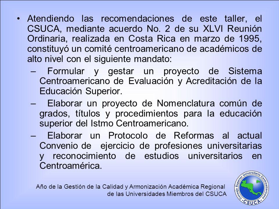 Atendiendo las recomendaciones de este taller, el CSUCA, mediante acuerdo No. 2 de su XLVI Reunión Ordinaria, realizada en Costa Rica en marzo de 1995, constituyó un comité centroamericano de académicos de alto nivel con el siguiente mandato: