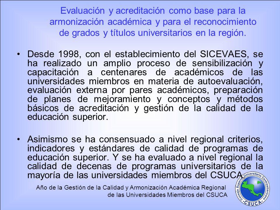 Evaluación y acreditación como base para la armonización académica y para el reconocimiento de grados y títulos universitarios en la región.