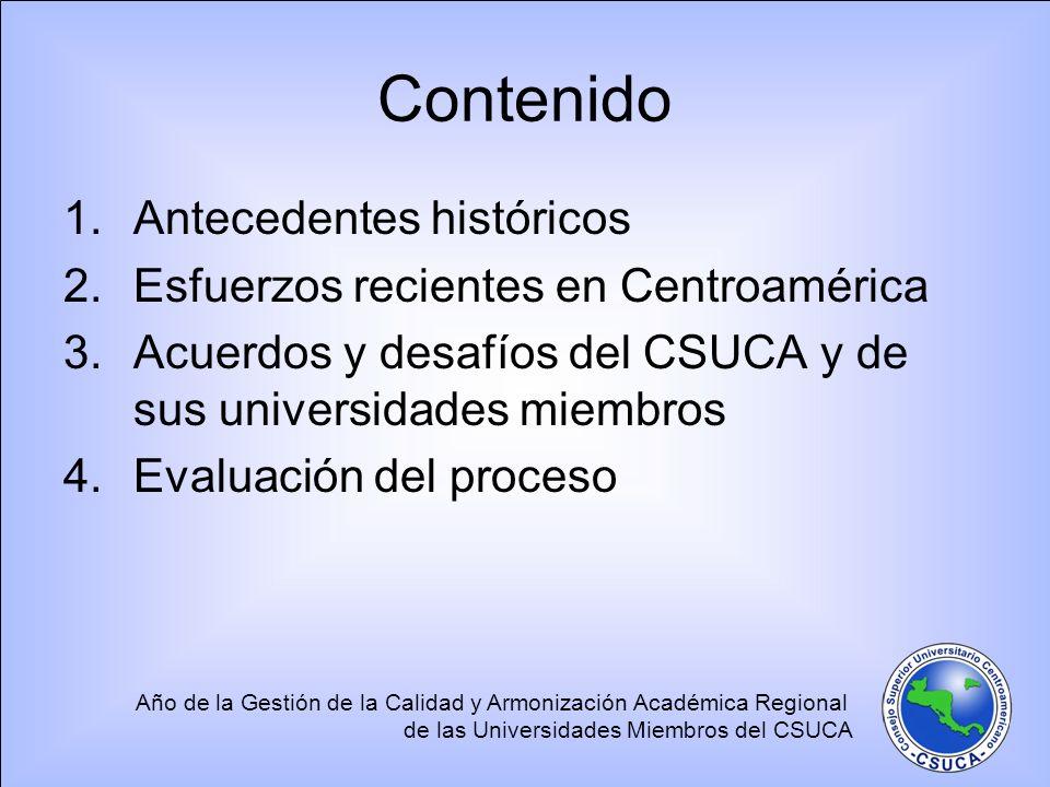 Contenido Antecedentes históricos Esfuerzos recientes en Centroamérica