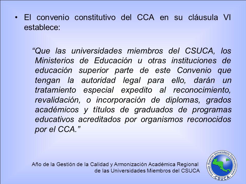 El convenio constitutivo del CCA en su cláusula VI establece: