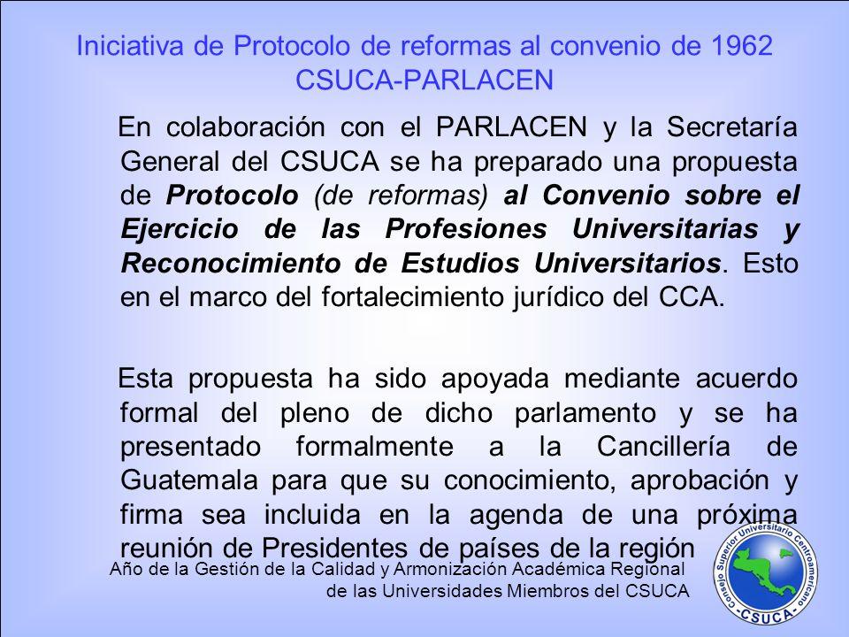 Iniciativa de Protocolo de reformas al convenio de 1962 CSUCA-PARLACEN