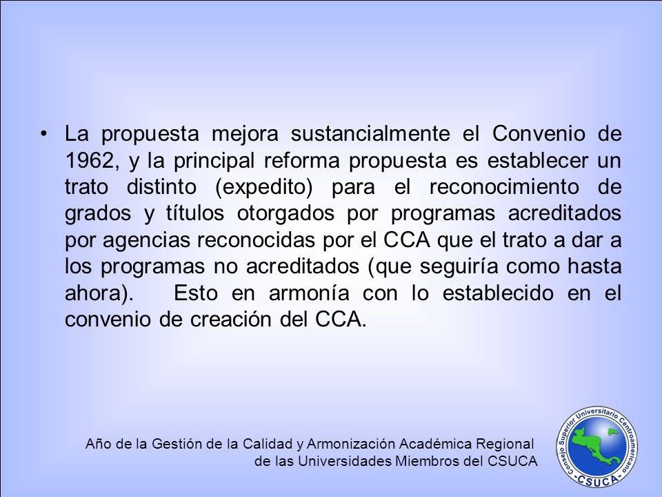La propuesta mejora sustancialmente el Convenio de 1962, y la principal reforma propuesta es establecer un trato distinto (expedito) para el reconocimiento de grados y títulos otorgados por programas acreditados por agencias reconocidas por el CCA que el trato a dar a los programas no acreditados (que seguiría como hasta ahora).