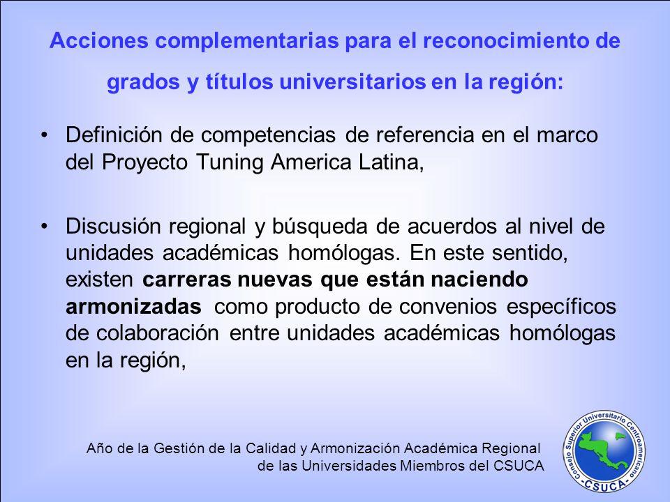Acciones complementarias para el reconocimiento de grados y títulos universitarios en la región: