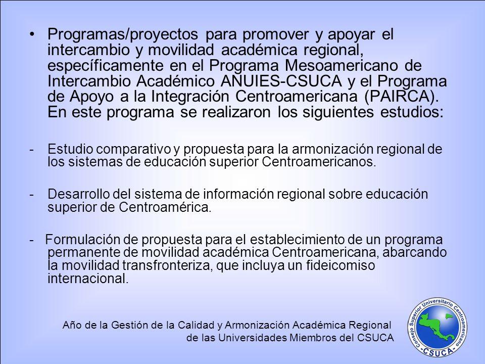 Programas/proyectos para promover y apoyar el intercambio y movilidad académica regional, específicamente en el Programa Mesoamericano de Intercambio Académico ANUIES-CSUCA y el Programa de Apoyo a la Integración Centroamericana (PAIRCA). En este programa se realizaron los siguientes estudios: