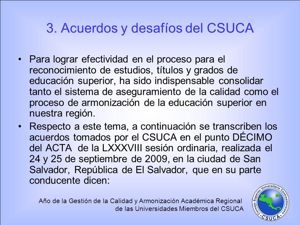 3. Acuerdos y desafíos del CSUCA