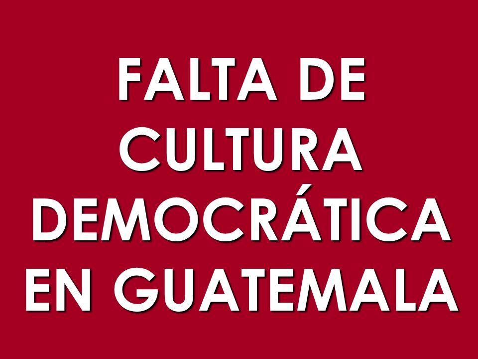 FALTA DE CULTURA DEMOCRÁTICA EN GUATEMALA