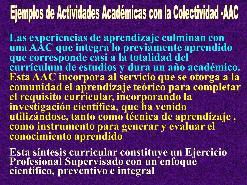 Ejemplos de Actividades Académicas con la Colectividad -AAC
