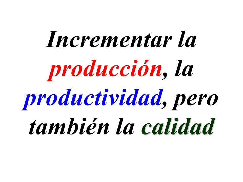 Incrementar la producción, la productividad, pero también la calidad