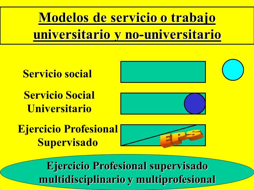 Modelos de servicio o trabajo universitario y no-universitario