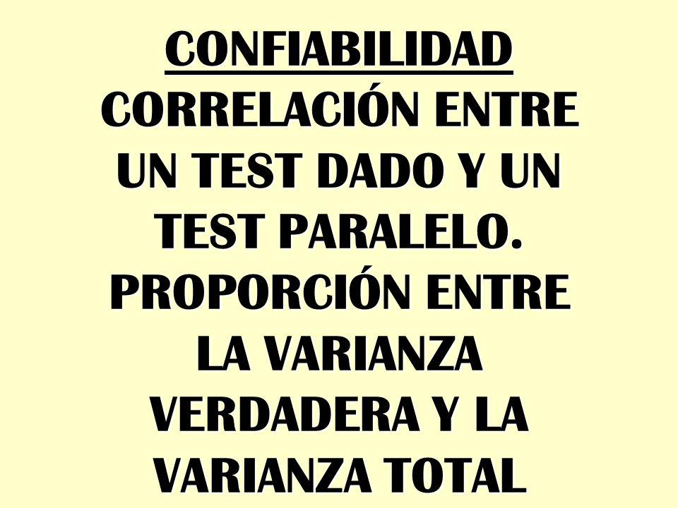 CONFIABILIDAD CORRELACIÓN ENTRE. UN TEST DADO Y UN. TEST PARALELO. PROPORCIÓN ENTRE. LA VARIANZA.